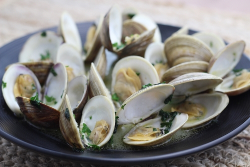 Steamed Clams in Wine Broth. Photo by Vanda Lewis