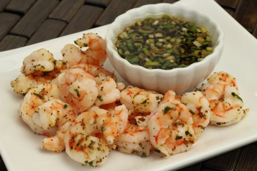 steamed shrimp with soy-ginger sauce